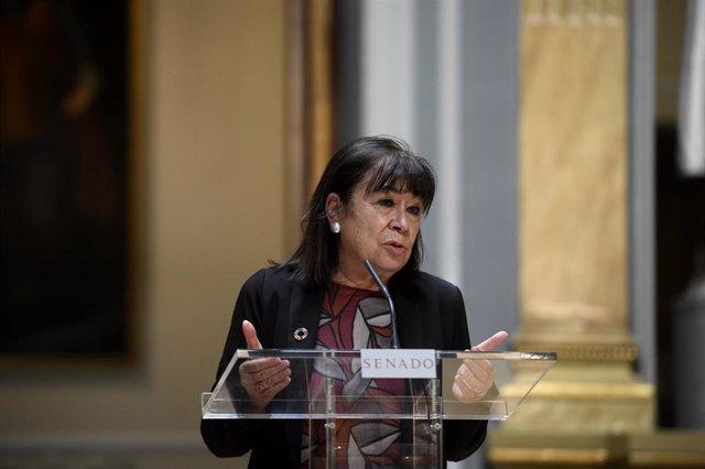 La vicepresidenta primera y portavoz de la Mesa del Senado, Cristina Narbona, interviene en la rueda de prensa convocada ante los medios tras la reunión de la Junta de Portavoces en la Cámara Alta, en Madrid (España), a 8 de septiembre de 2020.