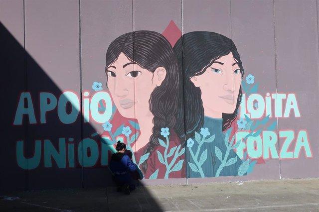 Mural realizado por las internas de la prisión de A Lama contra la violencia de género.