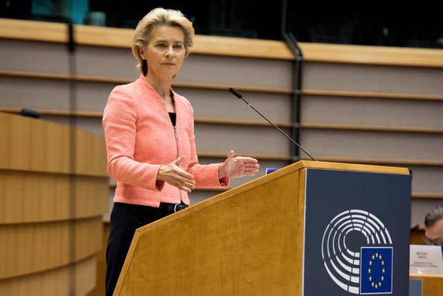 HANDOUT - 16 September 2020, Belgium, Brussels: European Commission President Ursula von der Leyen speaks during her first State of the Union address to the plenary session of the European Parliament. Photo: Etienne Ansotte/European Commission/dpa - ATTEN