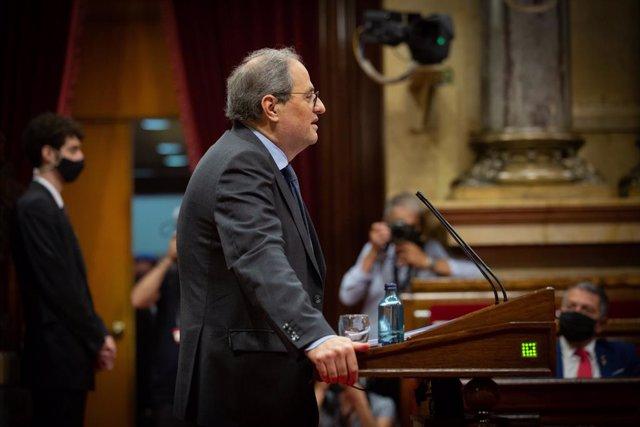 El president de la Generalitat, Quim Torra, al Debat de Política General en el Parlament.