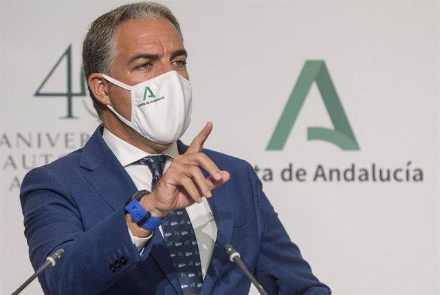 El consejero de la Presidencia, Administración Pública e Interior y portavoz del Gobierno, Elías Bendodo