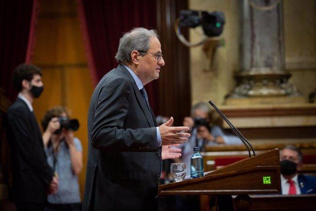 El presidente de la Generalitat, Quim Torra, en su intervención durante el Debate de Política General en el Parlament.