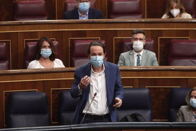 El vicepresidente segundo del Gobierno, Pablo Iglesias, interviene en el Pleno del Congreso