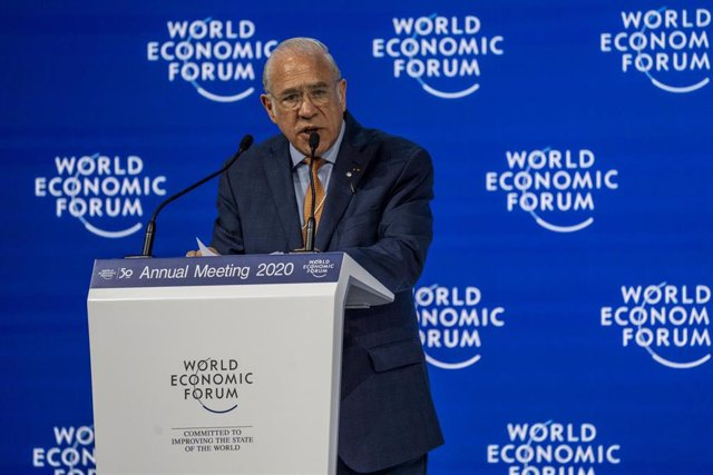 HANDOUT - 22 January 2020, Switzerland, Davos: Angel Gurria, General Secretary of OECD, speaks during a plenary session at the 50th World Economic Forum annual meeting. Photo: Faruk Pinjo/World Economic Forum/dpa - ATTENTION: editorial use only and only i