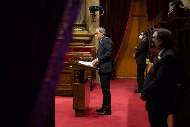 El president de la Generalitat, Quim Torra, en el debat de política general al Parlament.