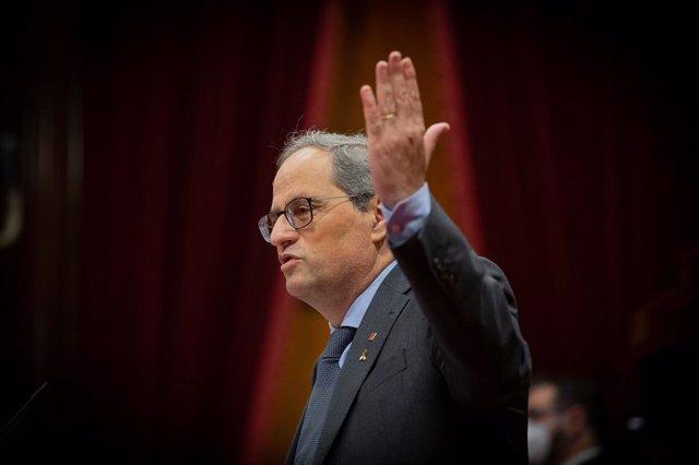 El president de la Generalitat, Quim Torra, en el debat de política general al Parlament, 16 de setembre del 2020.