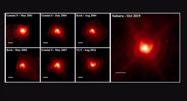Secuencia de 7 imágenes de IR medio (aproximadamente 10 micrómetros) de WR 112 tomadas entre 2001 y 2019 por los telescopios Gemini Norte, Gemini Sur, Keck, Very Large Telescope (VLT) y Subaru