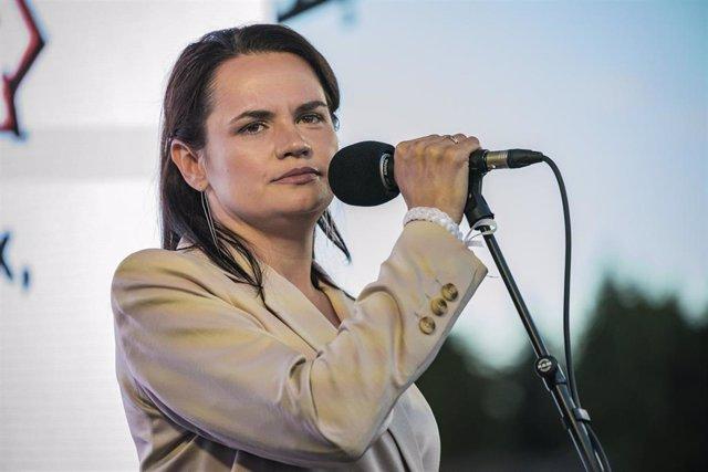 La líder opositora bielorrusa Svletana Tijanovskaya