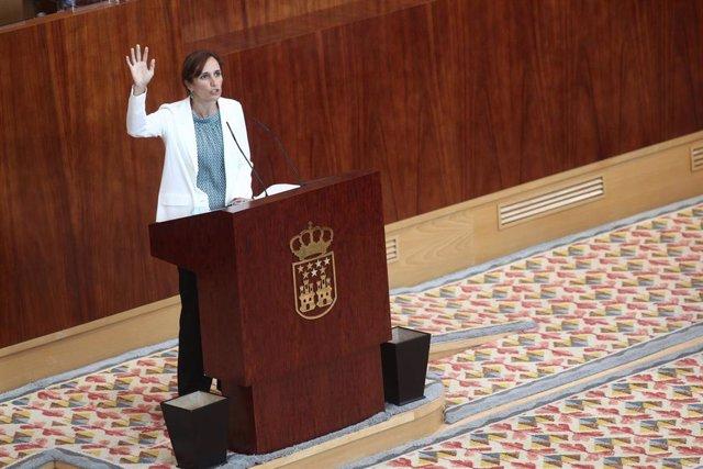 La líder regional de Más Madrid, Mónica García, interviene durante la segunda jornada del Pleno del Debate del Estado de la Región en Madrid (España), a 15 de septiembre de 2020. En esta segunda sesión participarán los grupos parlamentarios, después de qu