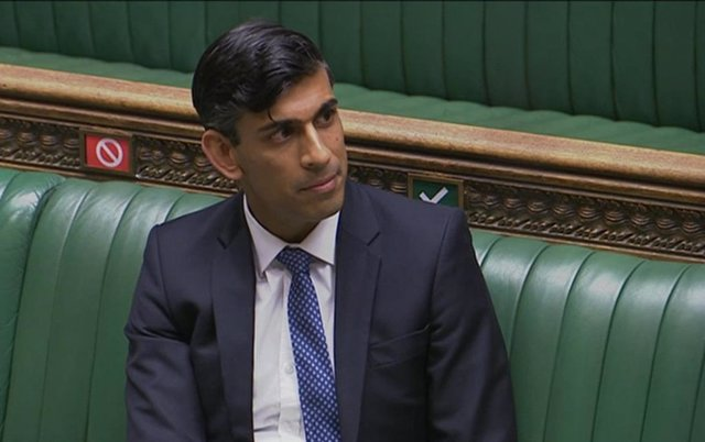 HANDOUT - 02 September 2020, England, London: A screen grab shows UK Chancellor of the Exchequer Rishi Sunak attending the Prime Minister's Questions in the House of Commons. Photo: -/House Of Commons via PA Wire/dpa - ATTENTION: editorial use only and on