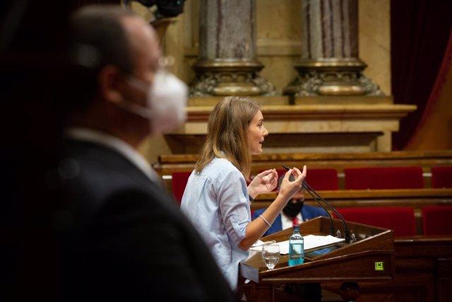 La líder dels comuns al Parlament, Jéssica Albiach, durant el debat de política general del 16 de setembre del 2020.