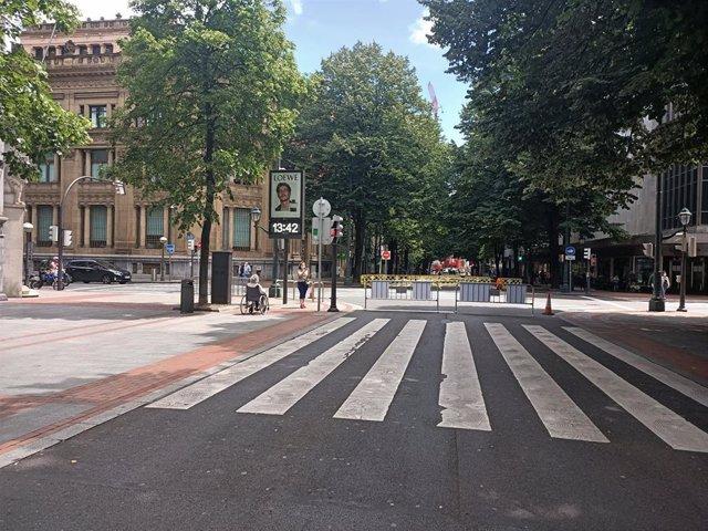 Imagen de la Gran Vía de Bilbao durante la desescalada