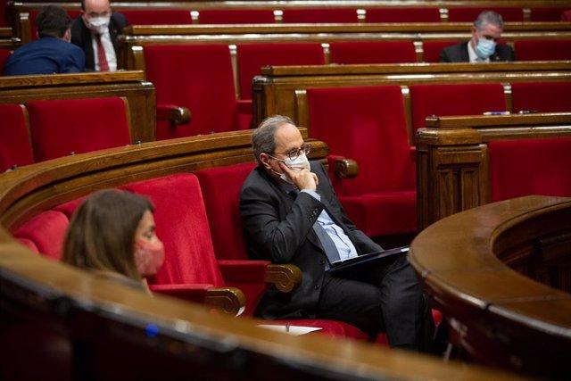 El presidente de la Generalitat, Quim Torra, durante el Debate de Política General (DPG) en el Parlament, en Barcelona, Catalunya (España), a 16 de septiembre de 2020. Durante el plenario, Torra explica la senda que quiere transitar su Ejecutivo.
