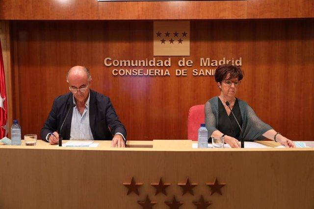 El viceconsejero de Salud Pública y Plan COVID-19 de la Comunidad de Madrid, Antonio Zapatero, y la directora general de Salud Pública, Elena Andradas.