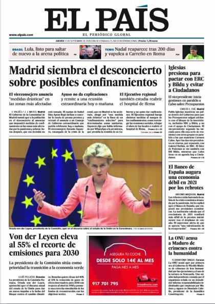 Las portadas de los periódicos del jueves 17 de septiembre de 2020