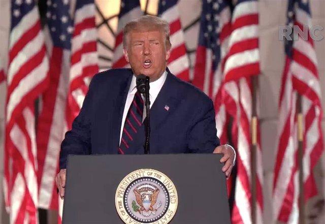 El presidente de Estados Unidos, Donald Trump, durante el cierre de la última jornada de la Convención Nacional Republicana.