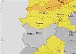 Avisos por lluvias y tormentas en la provincia de Cáceres para este viernes.