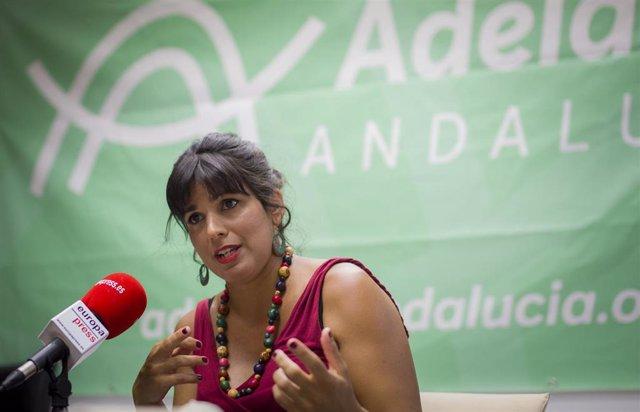 La Presidenta del Grupo Parlamentario de Adelante Adalucía, Teresa Rodríguez , durante una entrevista para Europa Press, en Sevilla, a 3 de agosto  de 2020.
