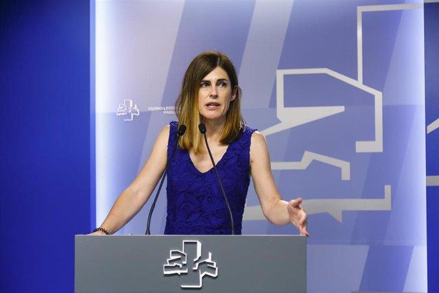 La portavoz parlamentaria de Elkarrekin Podemos-IU, Miren Gorrotxategi, en el Parlamento Vasco