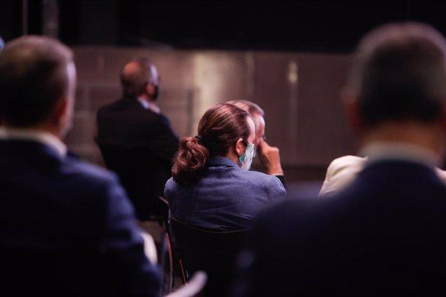 El vicepresidente segundo del Gobierno, Pablo Iglesias, durante la conferencia ofrecida por el presidente del Gobierno, Pedro Sánchez, bajo el título 'España puede. Recuperación, Transformación, Resiliencia'.