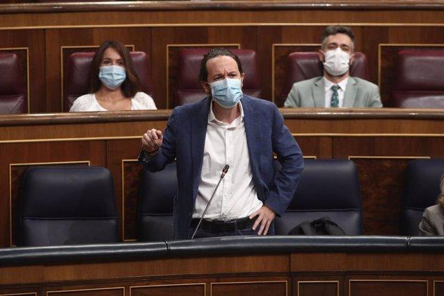El vicepresidente segundo del Gobierno, Pablo Iglesias, interviene en la primera sesión de control al Gobierno en el Congreso, en Madrid (España) a 9 de septiembre de 2020.  El Gobierno contesta preguntas, entre otras, sobre el coronavirus o sobre los gas