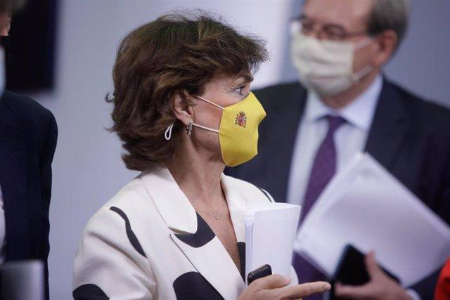 La vicepresidenta primera del Gobierno, Carmen Calvo, tras su comparecencia en rueda de prensa posterior al Consejo de Ministros celebrado en Moncloa, en Madrid (España), a 15 de septiembre de 2020.