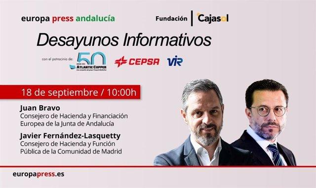 Cartel anunciador del desayuno informativo de Europa Press Andalucía con el consejero andaluz de Hacienda, Juan Bravo, y su homólogo de Madrid, Javier Fernández Lasquetty, el viernes 18 de septiembre