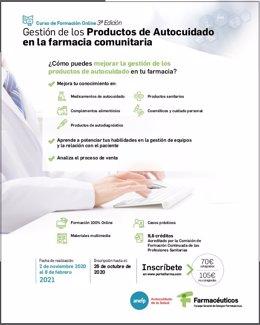 La III edición del curso 'Gestión de los productos de autocuidado en la farmacia comunitaria' empezará el 2 de noviembre