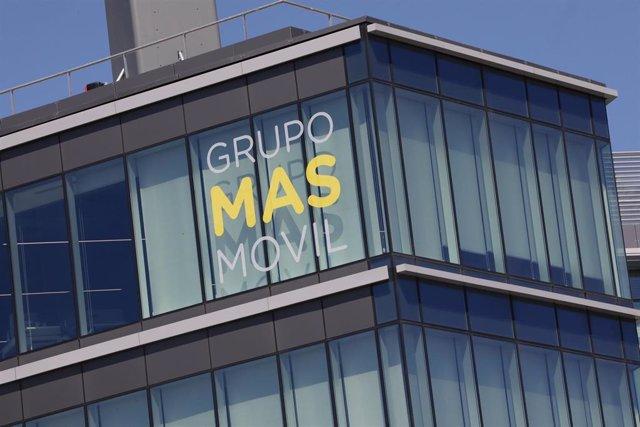 Fachada de la sede de Grupo MásMóvil ubicada en Madrid (España)