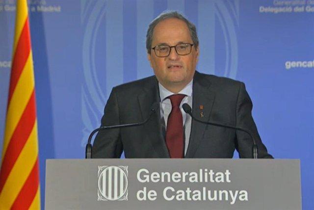 El presidente de la Generalitat, Quim Torra, en una declaración institucional tras la vista en el Tribunal Supremo.