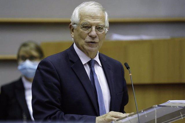 Josep Borrell en su comparecencia en el Parlamento europeo, en Bruselas