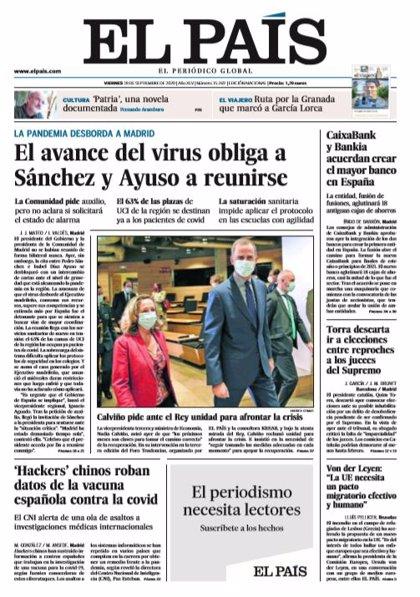Las portadas de los periódicos del viernes 18 de septiembre de 2020