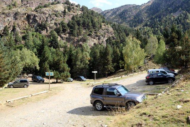 Pla general de l'aparcament La Molinassa, el més pròxim per accedir a la Pica d'Estats. Imatge del 17 de setembre del 2020. (horitzontal)