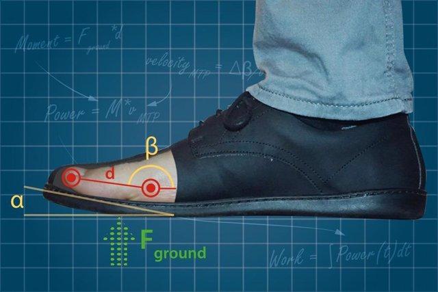 El calzado con puntera elevada requiere menos trabajo muscular.