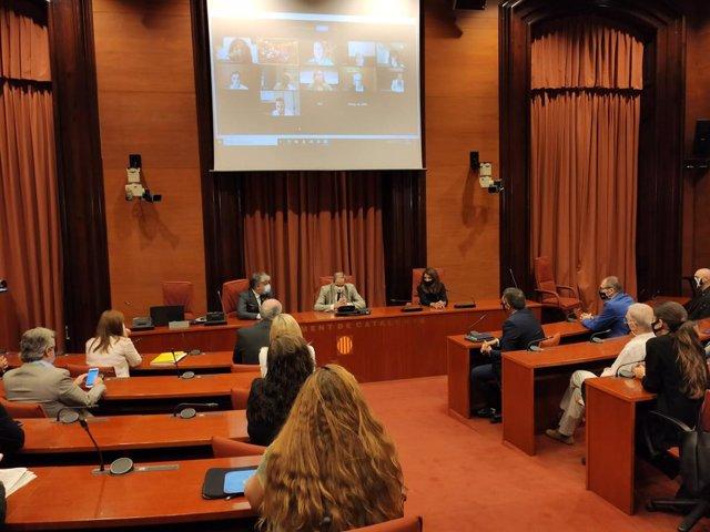El president de la Generalitat, Quim Torra, amb els diputats de JxCat al Parlament, que li han mostrat el seu suport després de la vista al TS.