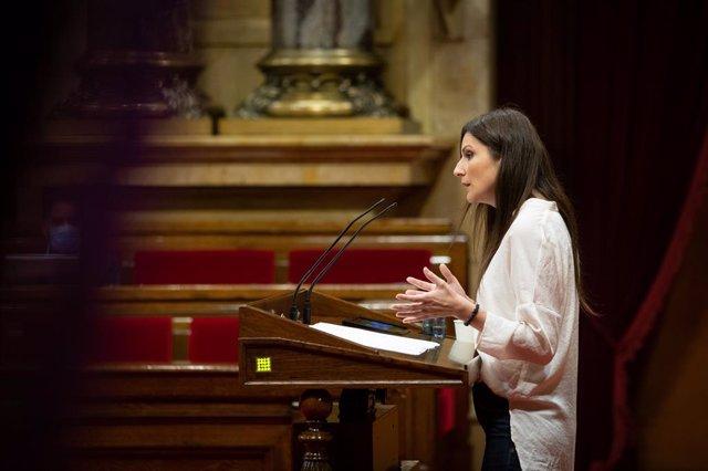 La líder de Cs a Catalunya, Lorena Roldán, en el ple específic del Parlament sobre residències del 7 de juliol