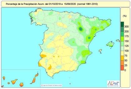 Las lluvias afrontan la última quincena del año hidrológico con un 11 por ciento más precipitaciones de lo normal