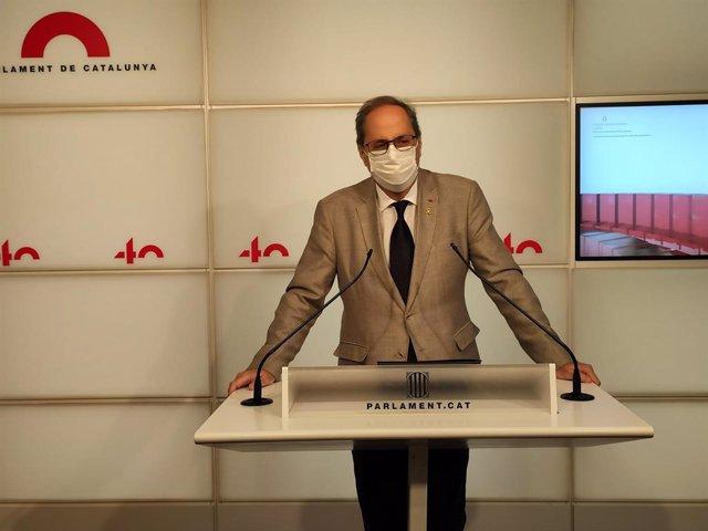 El president de la Generalitat, Quim Torra, en roda de premsa des del Parlament.