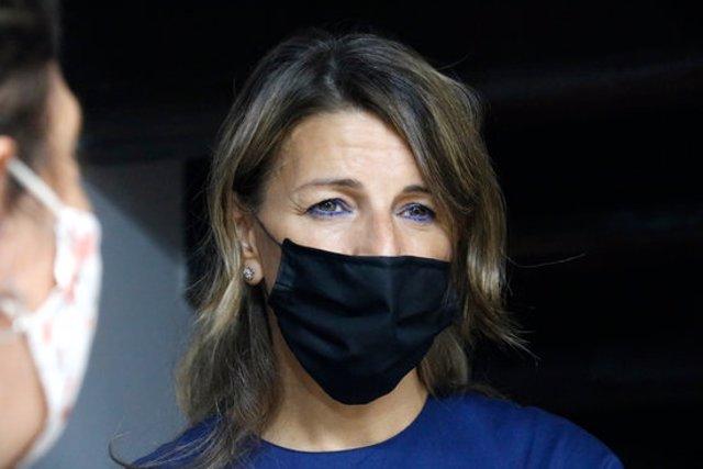 Pla tancat de la ministra espanyola de Treball, Yolanda Díaz, a Barcelona el 18/09/2020 (horitzontal)