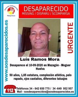 Cartel alertando de la desaparición de Luis Ramos Mora