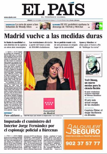 Las portadas de los periódicos del sábado 19 de septiembre de 2020