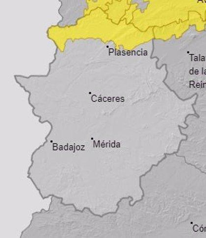 La alerta amarilla por lluvias en el norte de Cáceres continúa hasta el mediodía de este sábado