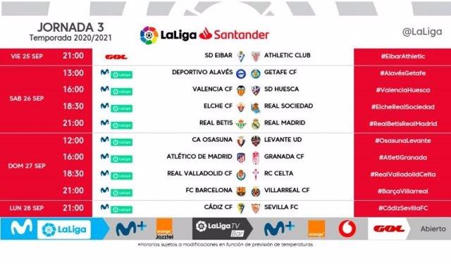 Fútbol.- LaLiga vuelve a programar partidos en lunes y viernes en la tercera jor