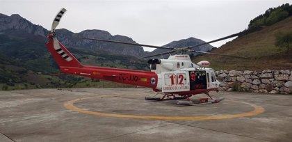 Herido un joven motorista de una prueba deportiva en Liébana, evacuado en helicóptero en su traslado a Valdecilla