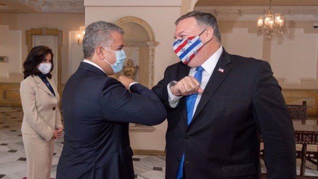 El secretario de Estado norteamericano, Mike Pompeo, y el presidente de Colombia, Iván Duque
