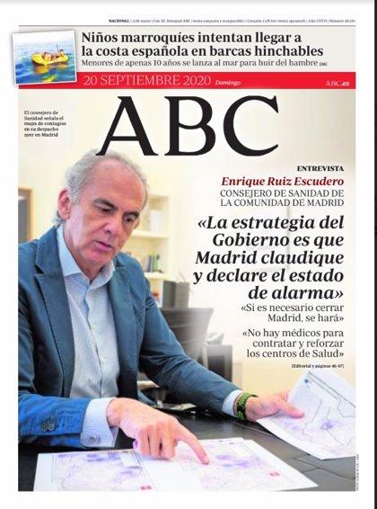 Las portadas de los periódicos del domingo 20 de septiembre de 2020