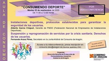 Las Aulas de Consumo del Gobierno de Aragón vuelven con una sesión sobre consumo y deporte en tiempos de COVID