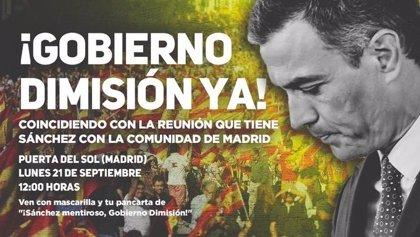 El sindicato de Vox convoca una concentración contra el Gobierno en la Puerta del Sol, a la hora de la reunión con Ayuso