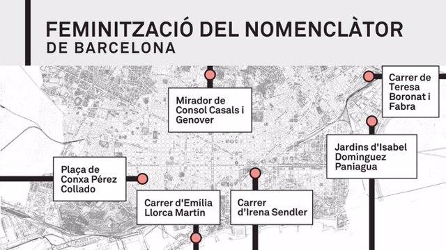 Nous carrers i espais amb nom de dona a Barcelona.