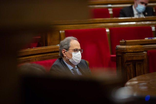 El president de la Generalitat, Quim Torra, en el debat de política general al Parlament. Barcelona, Catalunya (Espanya), 16 de setembre del 2020.